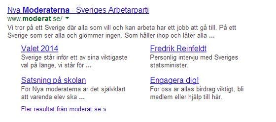 Googles, search result page för Moderaterna som den skulle kunna se ut