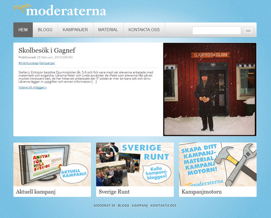 Sidan man kommer till om man vill engegera sig för Moderaterna, här kan man läsa om skolbesök i  Gagnef