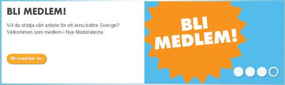 """Karusell slide från Moderaternas sida, med budskapet """"bli medlem!"""""""