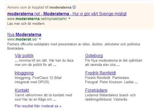 Googles, search result page för Moderaterna