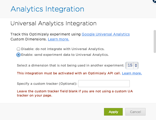 Slå på Google Analytics-integration i Optimizely - steg 2
