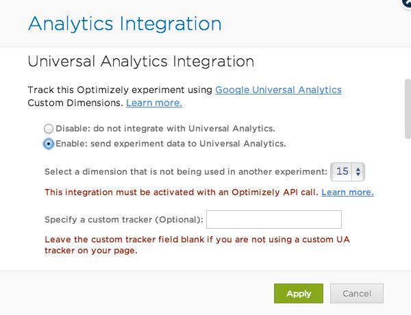 Slå på Google Analytics-integration i Optimizely - steg 2