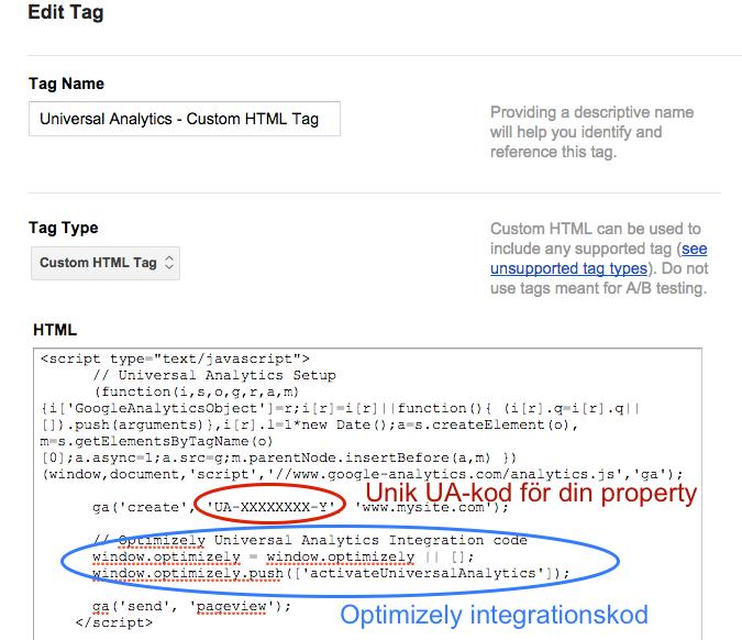 Skapa Custom Html-tagg i Google Tag Manager
