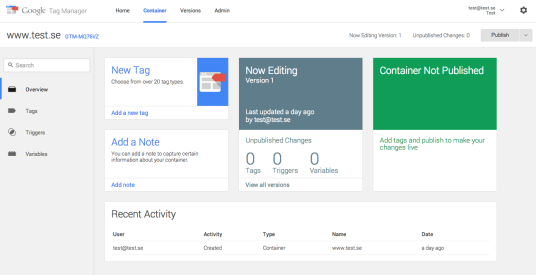 Nya Google Tag Managers Dashboard