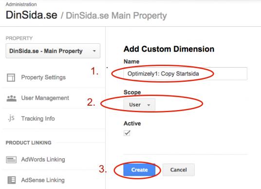 Sätt upp Custom Dimensions i Google Analytics - steg 3