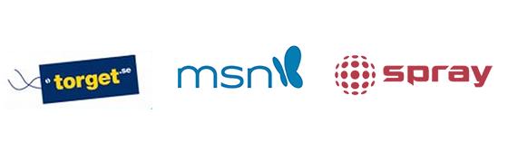 Logos: torget.se - msn.com och spray.se