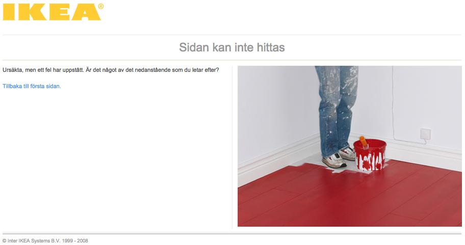 Exempel: Ikeas 404-sida