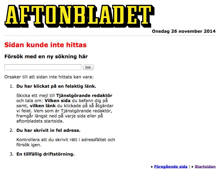 Exempel: Aftonbladets 404-sida