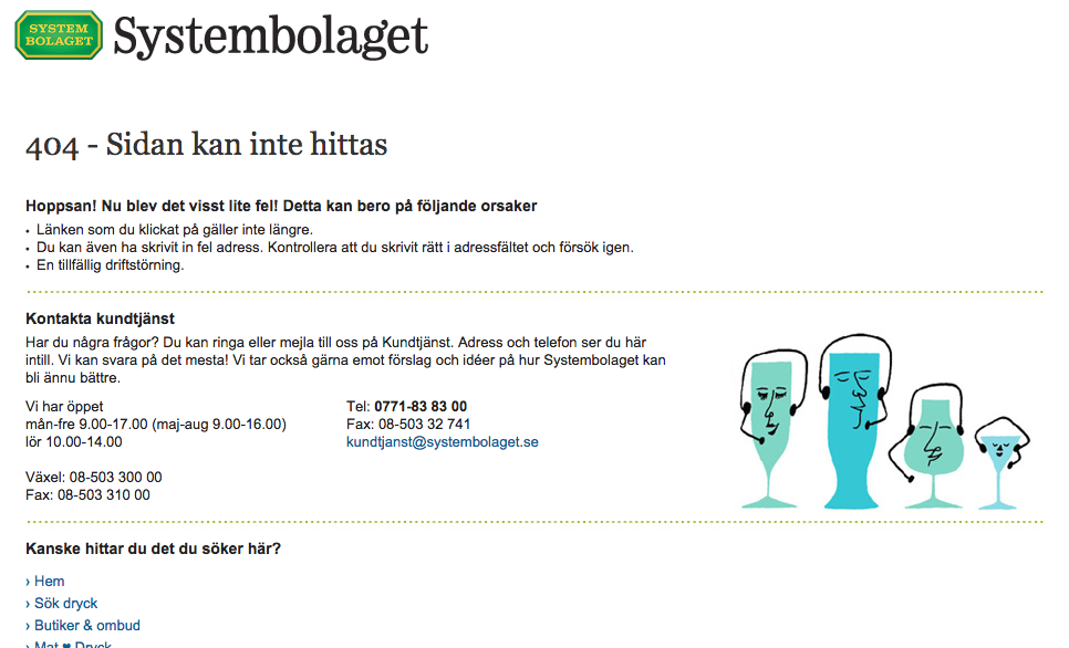 Exempel: Systembolagets 404-sida