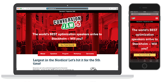 Conversion Jam desktop och mobil