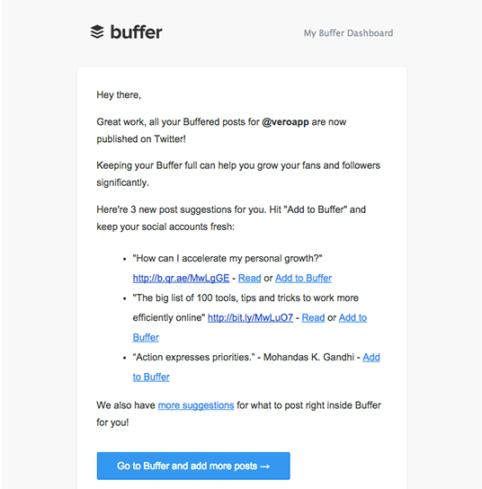 Buffer email marketing