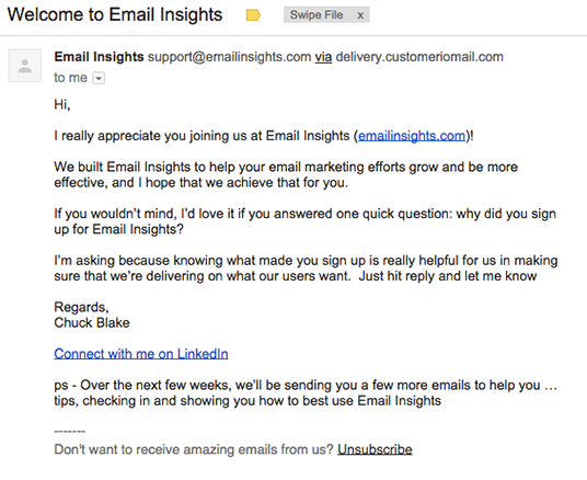email insights welcome