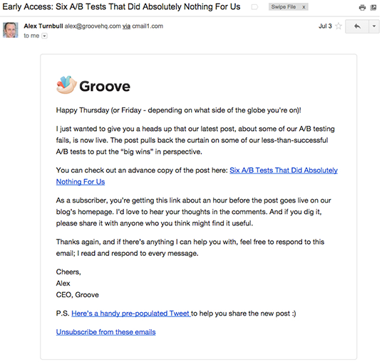 Groove early access email marketing