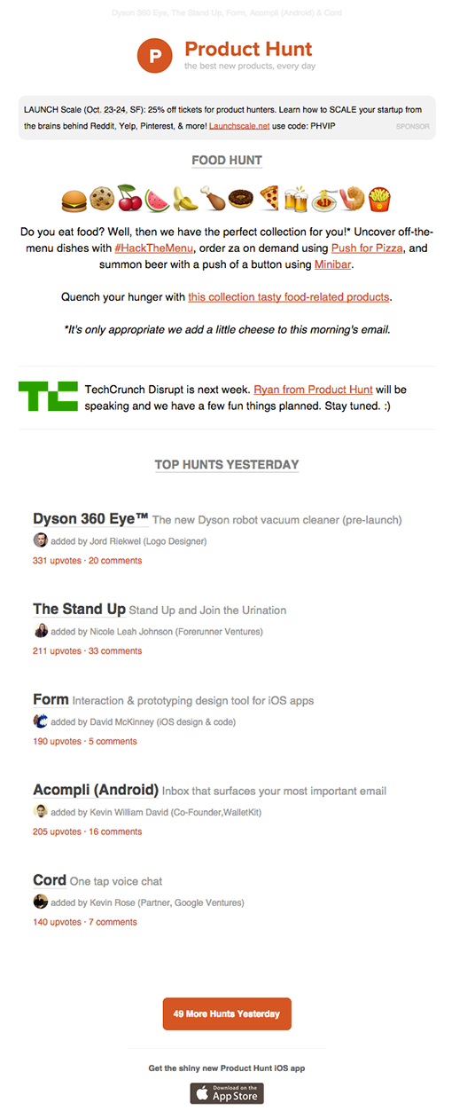 Producthunt email marketing