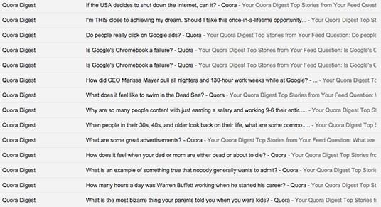 Quora subject lines