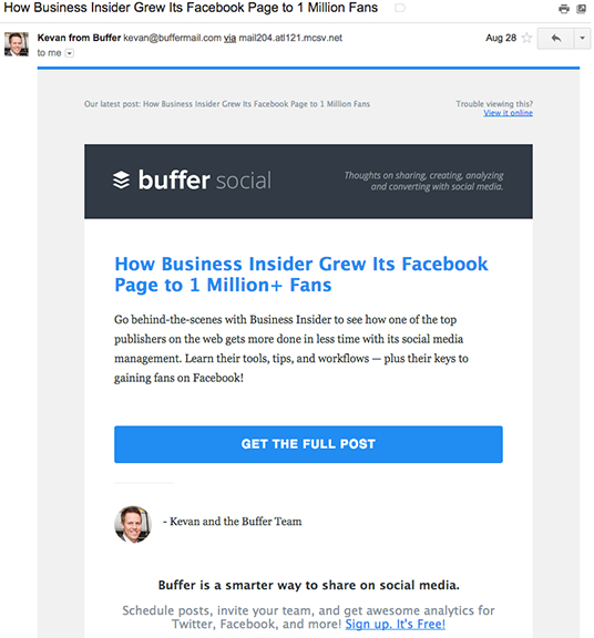 Buffer partner mail