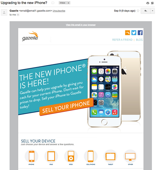 Gazelle iphone email