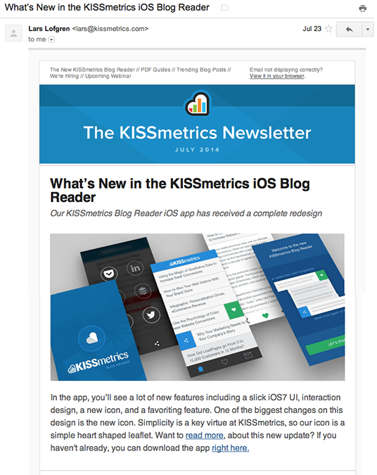 KISSmetrics email marketing