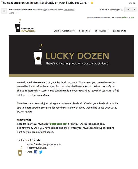 Starbucks free email