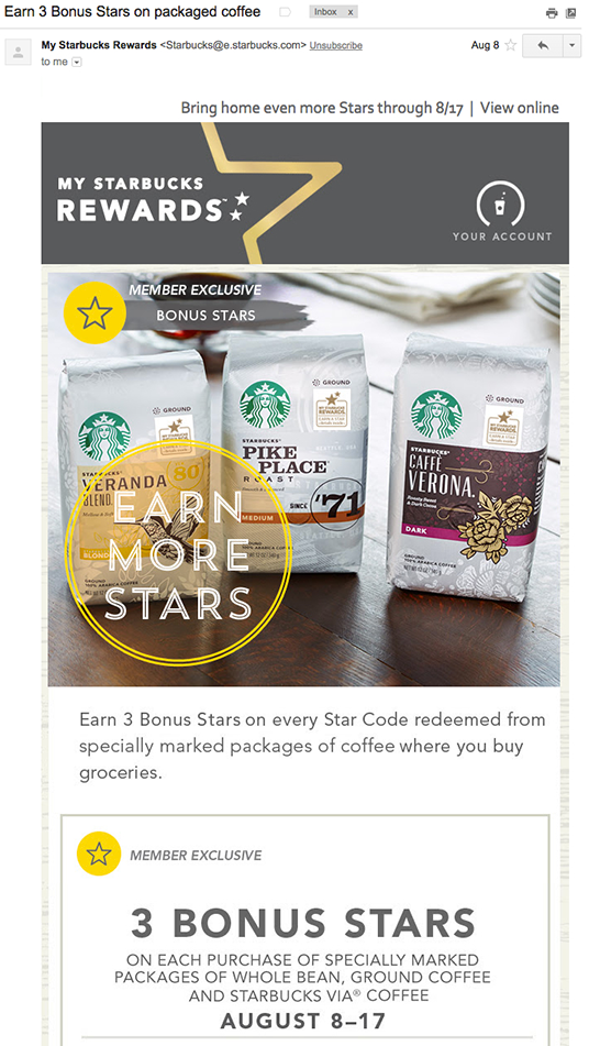 Starbucks Reward email