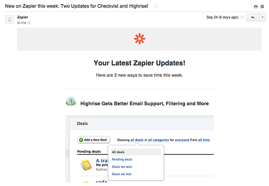 Zapier email example
