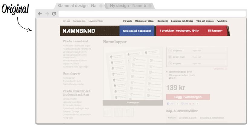 Namnband Original A/B-testning