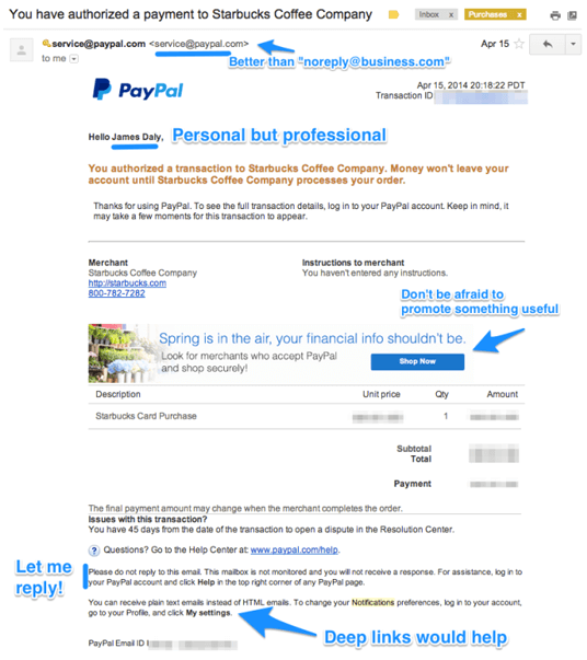 Notismail exempel PayPal
