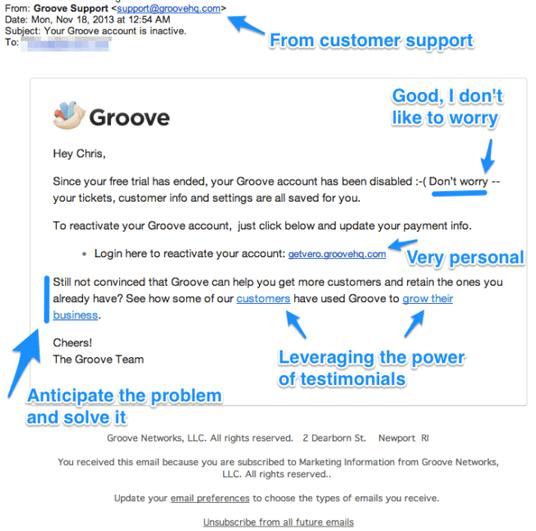 Påminnelsemail exempel Groove