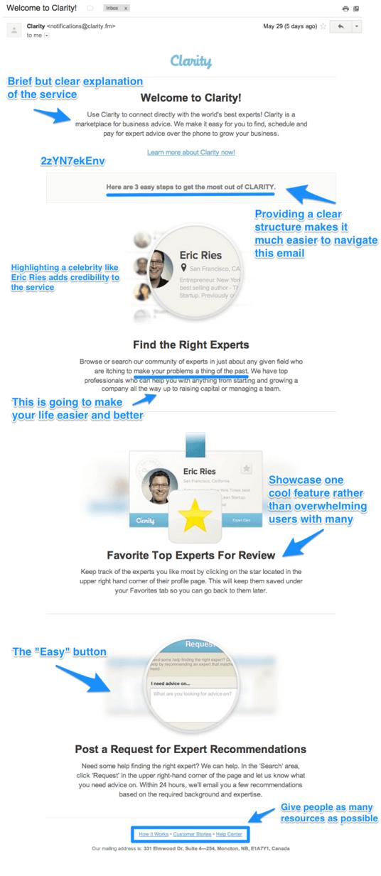 Välkomstmail exempel Clarity