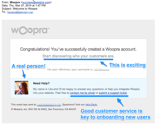 Välkomstmail exempel Woopra