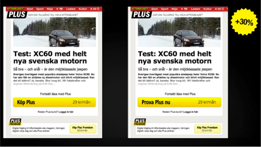 Effortless CTA testing Aftonbladet