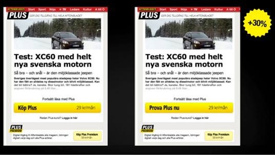 Effortless CTA testing Aftonbladet