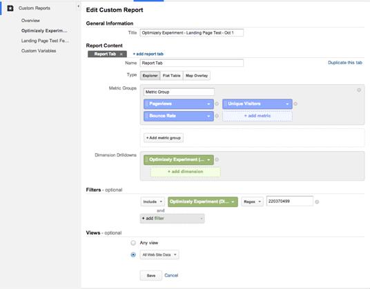 Create a Custom Report in GA