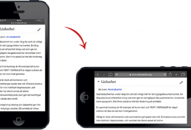 Mobile Orientation för läsbarhet