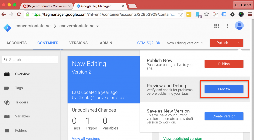 Google Tag Manager - Preview and Debug mode