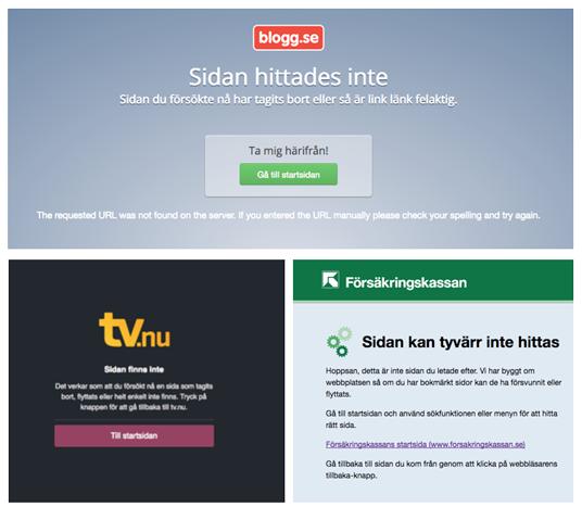 404-sidor med logga och länk