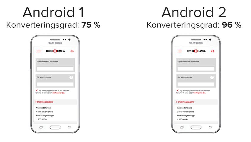 Före efter bugg Android