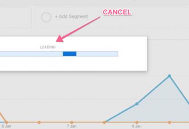 Cancel Load button Google Analytics