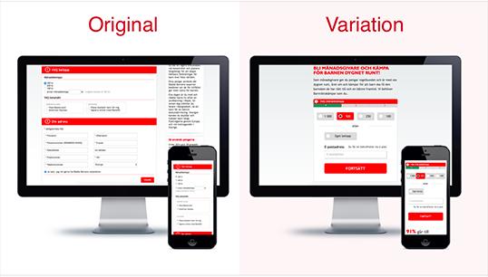 rädda barnen original vs variation