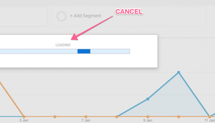 """How to get a """"Cancel Load"""" button in Google Analytics"""